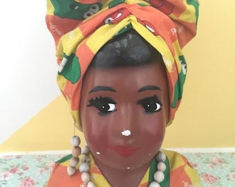 Kitschy African Lady Head Figurine