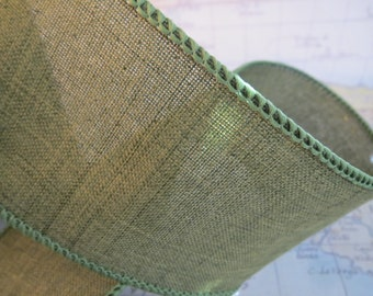 10 Yards Green Wired Edge Ribbon For Crafting Shimmer 2 1/2 Inch