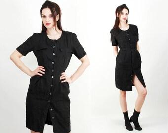Vintage Dress / Linen Dress / Black Linen Dress / Short Sleeve Dress / Button Down Dress / Dress with Pockets Size M