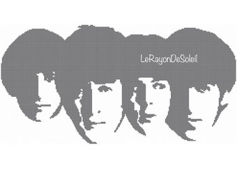 The Beatles cross stitch pattern portrait face together - PDF Instant download.