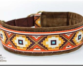 Dog collar ETHNO, Martingale, brown orange