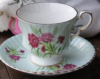 Royal Windsor China Teacup & Saucer ~ Vintage ~ England ~ Pink and Red Carnations on Pastel Blue
