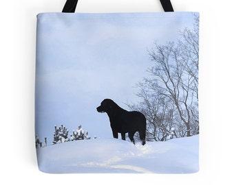 Black Lab 20PQ Tote Bag -  Labrador Tote - Black Lab Gifts - Dog Tote Bag - Grocery Bag - Grocery Tote Bag - Beach Bag - Black Lab Art