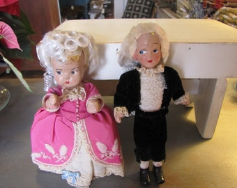 Elite Brand Wooden George and Martha Washington Dolls