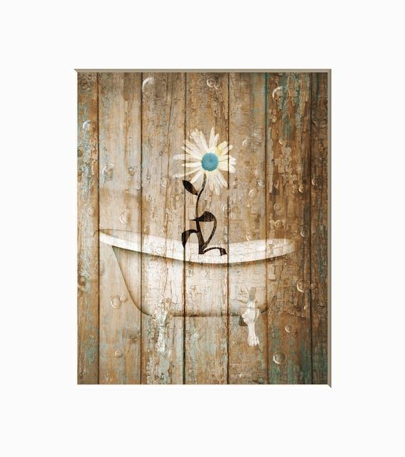 Rustic Country Vintage Bathroom Decor Daisy Flower In