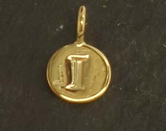 Gold on sterling silver round letter charm I, gold initial I charm,  stamped gold letter charm  , I gold vermeil initial charm
