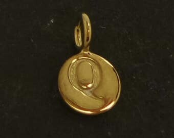 Gold on sterling silver round letter charm Q, gold initial Q charm,  stamped gold letter charm  , Q gold vermeil initial charm
