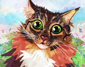 Personalized Digital Portrait– 1 Pet. Personalized hand drawn painting gift idea.  Art portrait illustration painting wall art.
