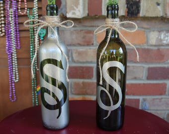 Wine Bottle Centerpiece With Customized Letter