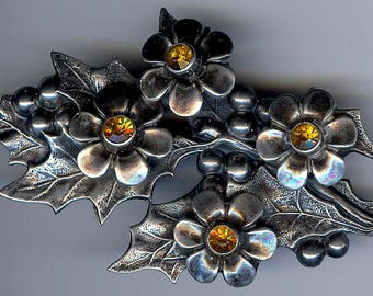 PRETTY vintage sterling silver yellow rhinestone FLOWERS & HOLLY pin brooch*