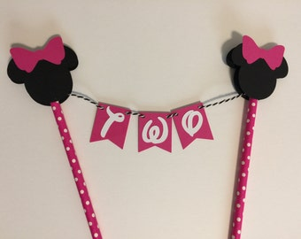 Minnie Cake Topper - Hot Pink Polka Dot- Centerpiece - Pick your Age