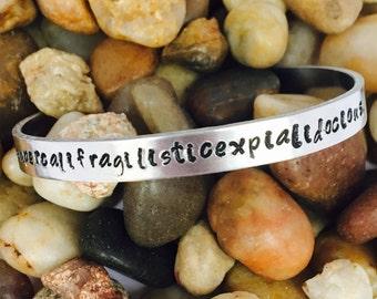 Supercalifragilisticexpialidocious hand-stamped bracelet