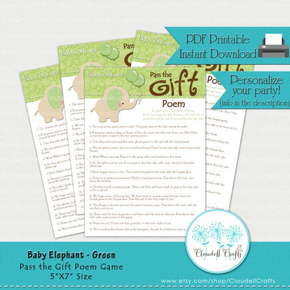 baby elephant green pass the gift poem baby shower game card by
