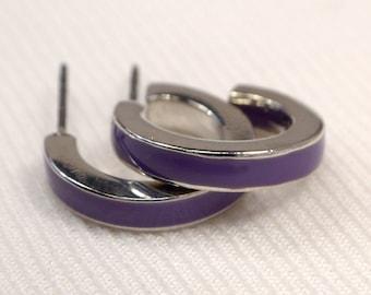 Purple Striped Hoop Earrings, Vintage Silver Hoops, Retro Purple Hoop Earrings, Silver Post Hoops, Purple Hoops, Clearance Sale (E703)
