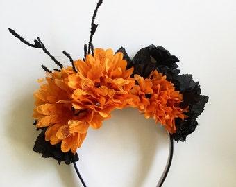 Orange Floral Headband, Orange and Black, Halloween