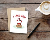 I lava you // small greeting card, blank inside // kraft envelope // volcano // Valentine's Day