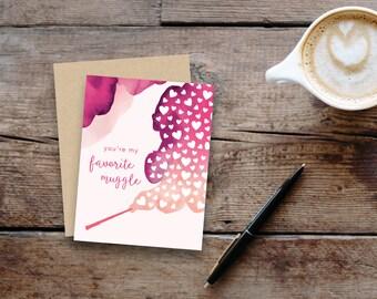 You're my favorite muggle // Harry Potter inspired greeting card // small, blank inside // kraft envelope