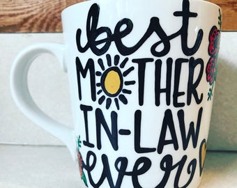 Best Mother In Law- Mother in law gift sun and flowers- mommy coffee mug- best friend gift - coffee lover's gift-Mother's Day mug