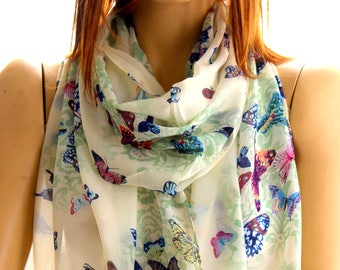 Butterfly Scarf - Bohemian green scarf - summer scarf - Women Scarves - Gift ideas - Scarves - Spring scarf - Boho Chic - butterfly green