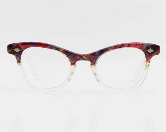 50s Plaid Cat Eye Glasses - Vintage 1950s Tartan Cat Eye Glasses Frames with Lens