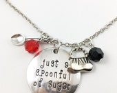 "Mary Poppins hand stamped ""just a spoonful of sugar,"" necklace"
