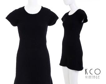 90s Black Angora Mini Dress Fuzzy Bodycon Vintage BP Nordstrom Minimalist Clothing Women's Size XS