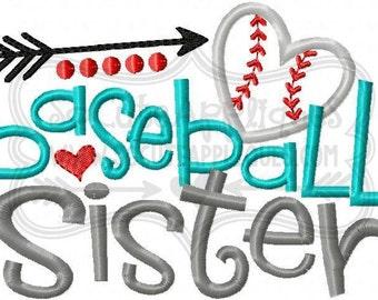 Baseball Sister!!  Embroidered Shirt, Bodysuit, Burp Cloth, Dish Towel and more!