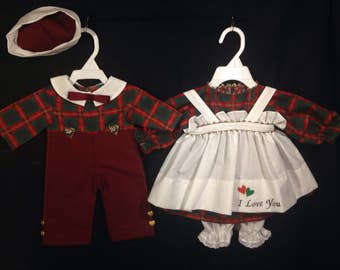 Dress, Apron,Pantaloons and Andy Suit and Hat for 25 inch Raggedy Ann and Andy Dolls;Red and Green Holiday Plaid print,Embroidered Apron