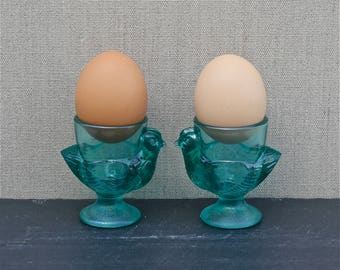 pair vintage French glass egg cups, coquetier petit déjeuner, breakfast for two, hen egg cup, chook, emerald green, gift set, made in France