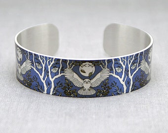 Owl jewellery cuff bracelet, metal bangle, purple blue with brushed silver moon, trees and owls. Wildlife jewelry. Gift for owl lover. B436