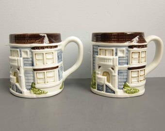 Vintage Otagiri Blue Victorian House Coffee Mugs - Set of 2