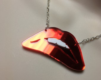 ROCKY HORROR inspired Red Lips Acrylic necklace