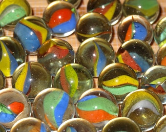 Lot of 10 Vintage Marbles / Glass Marbles / Game Marbles / Toy Marbles