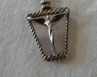 Beautiful Lavaggi Angel of Reconciliation Sterling Mother of Pearl Necklace