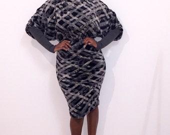 Batwing dress, fur dress, warm dress, winter dress