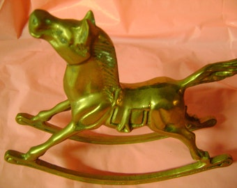 Brass Rocking Horse Vintage Home Decor Beautiful