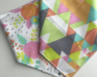 Bandana Bib, Floral, Triangles, Bright Color, Girly, Infant/ Toddler size