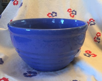 Free Shipping USA Pottery Kitchen Glazed Blue-Violet Mixing Serving Bowl Ribbed