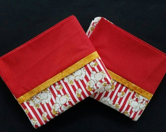 Popcorn Red and White Striped Flannel Pillowcases - Flannel Sleep Over Pillow Cases