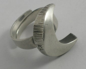Karl Laine 1976 Scandinavian Sterling Silver Celestial Moon Ring #211