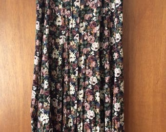 Vintage Express Floral Button Front Long Skirt M