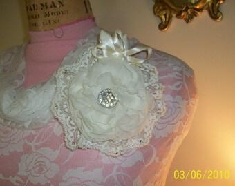 fabric flower handmade organza with rhinestone middle
