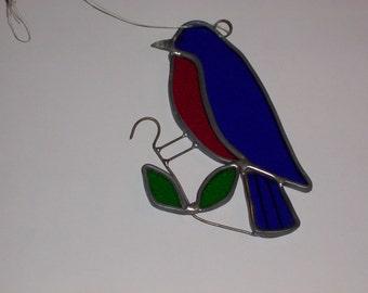 Vintage Hanging Stained Glass Blue Bird Wonderful Suncatcher