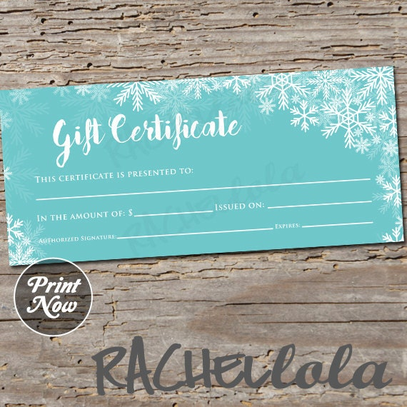 Winter, Blue Snow, Printable Gift Certificate Template