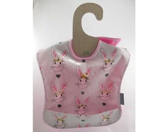 Waterproof bib, Wipeable bib, Plastic bib, 1st birthday bib, Wipe off bib, Baby girl bib, Pocket baby bib, Ready to ship, Bunny bib, Easter
