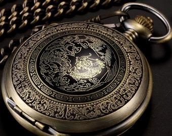 Dracul Vintage  Pocket Quartz Watch + Chain