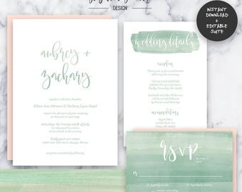 Sage Watercolor Wedding Invitation Suite   INSTANT DOWNLOAD   Editable PDF  Do It Yourself   Printable