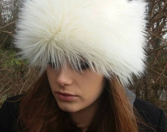 Faux Mongolian Sheep Fur Hat  with Short Cream Furry Crown.