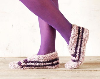 Woman's Indoor Knitted Slippers, Handcrafted House Shoes, Knitted Wool Acrylic Slippers, Knitted Indoor Shoes Socks
