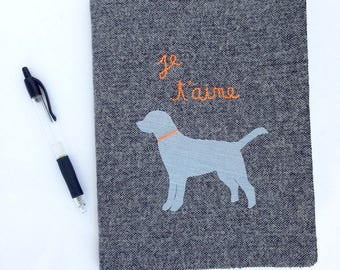 personalized journal, fabric covered notebook, dog silhouette, hand embroidery, french words, gift for her, dog lover gift, francophile gift